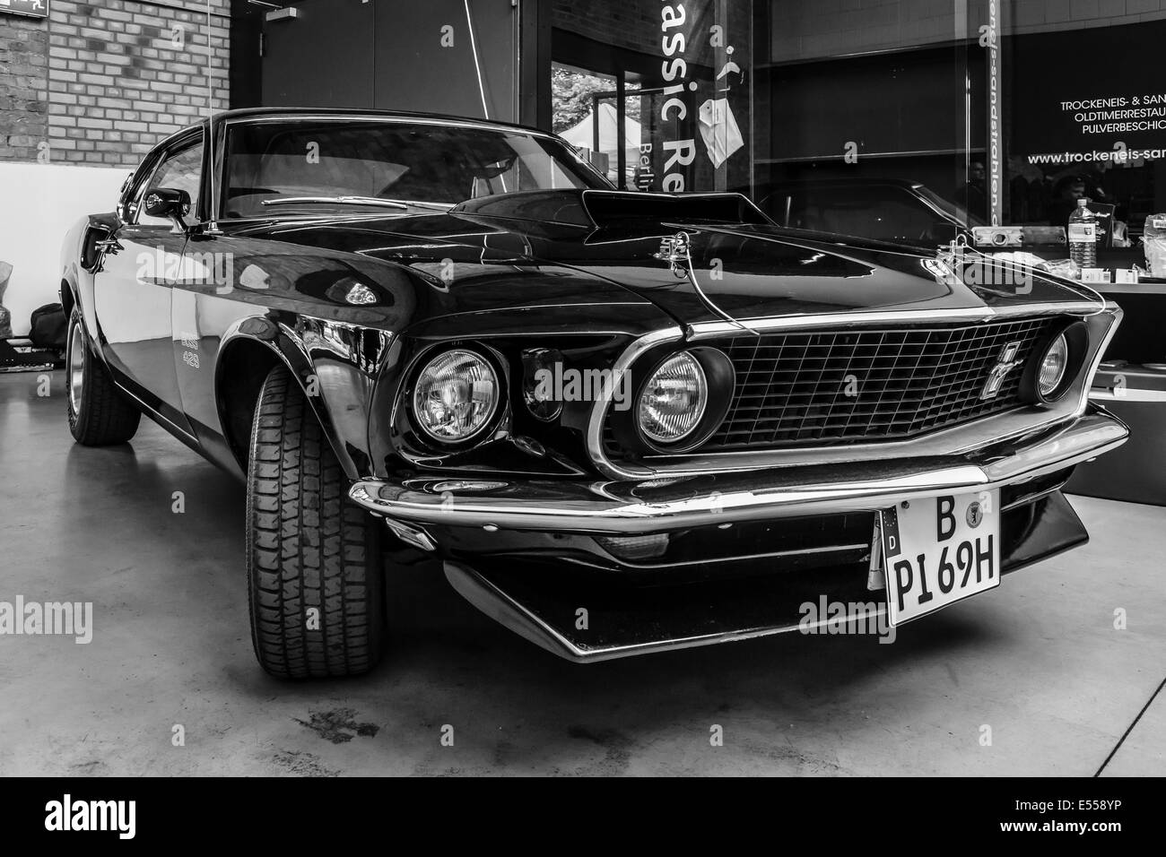 Muscle Car Ford Mustang Boss 429 Fastback 1969 Black And White