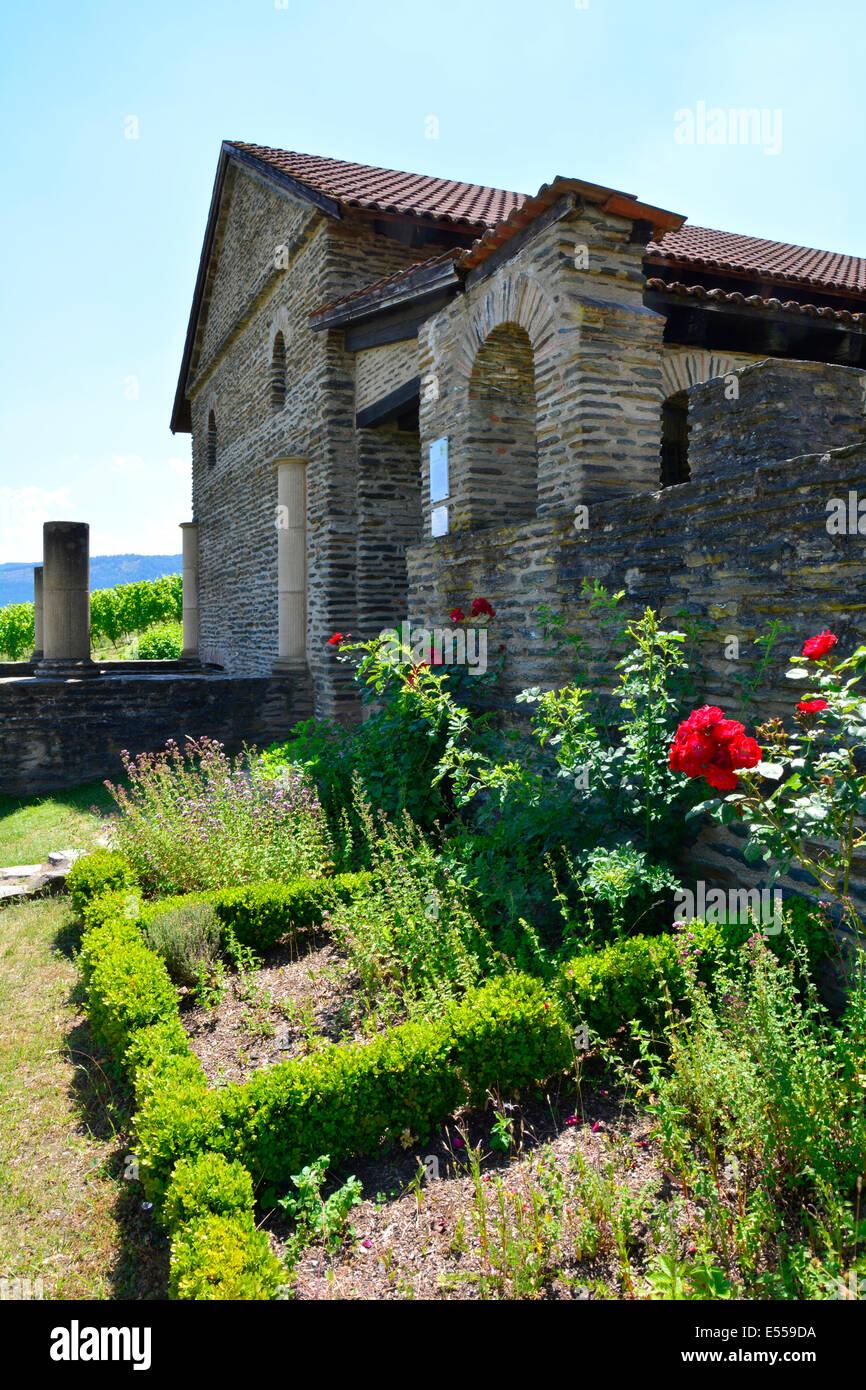 Roman Villa Urbana Longuich Moselle Germany Römische Weinstrasse Mosel vine route Rhineland-Palatinate Schweich - Stock Image