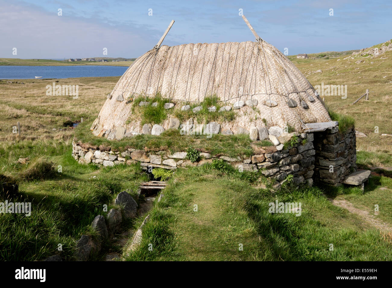 Reconstructed Shawbost Iron Age Norse Mill and old water course on west coast of Isle Lewis Outer Hebrides Western - Stock Image