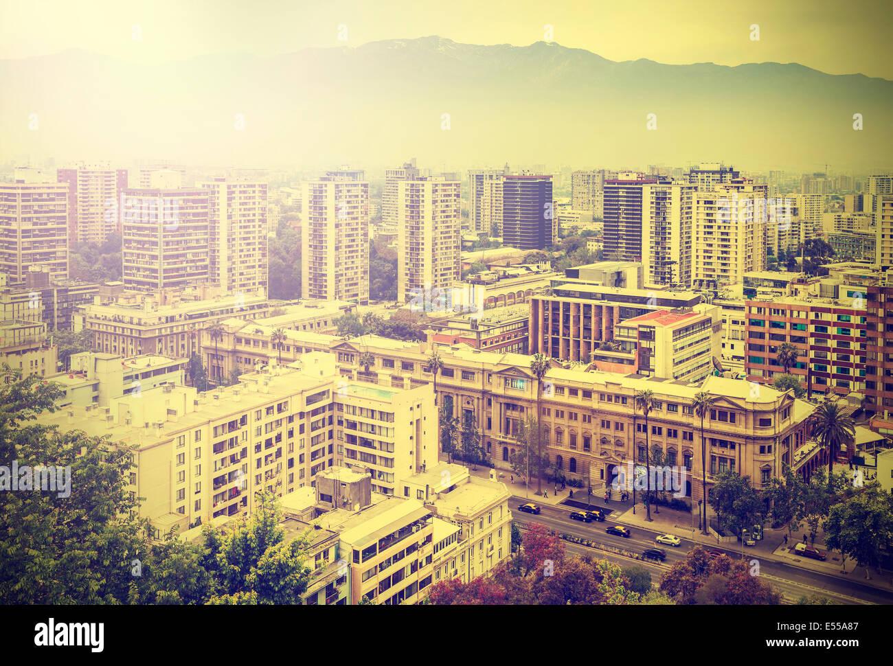 Vintage picture of Santiago de Chile downtown. - Stock Image