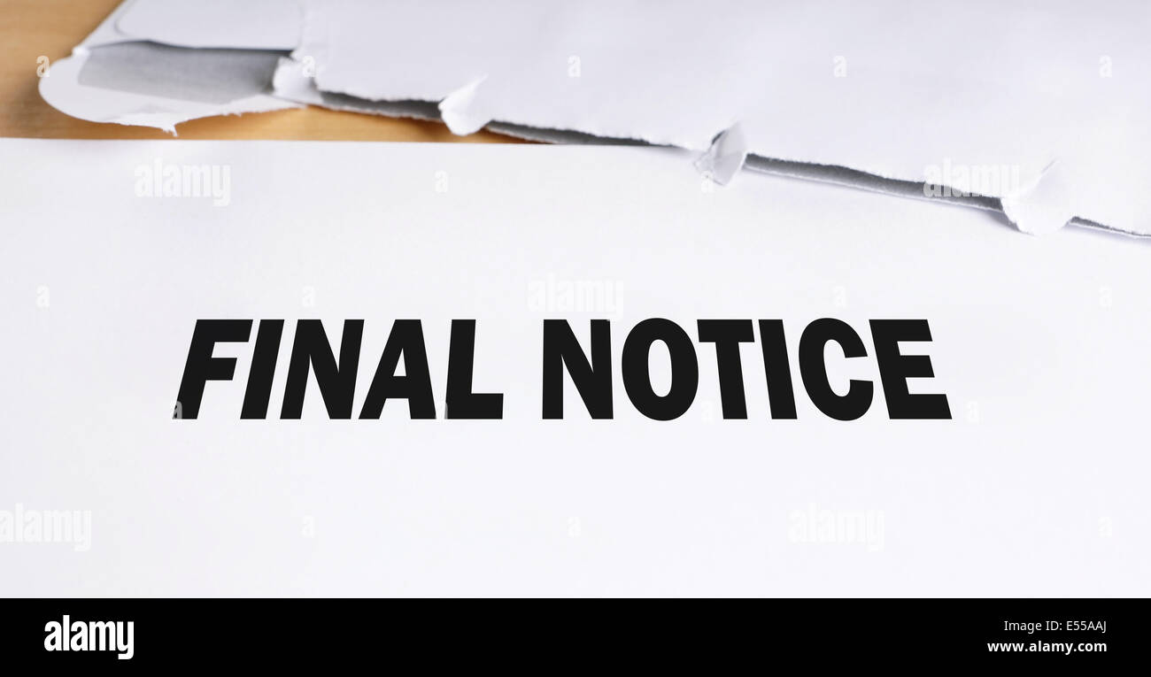 final notice - Stock Image