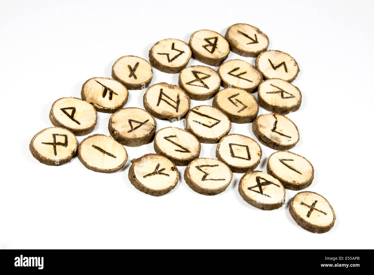 Nordic symbols on collection of handmade wooden runes - Stock Image