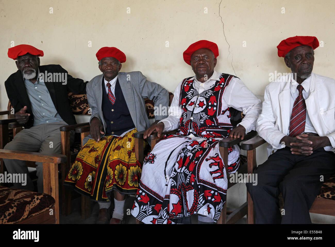 Members of the Kuta, the Lozi parliament in Barotse land, Zambia - Stock Image