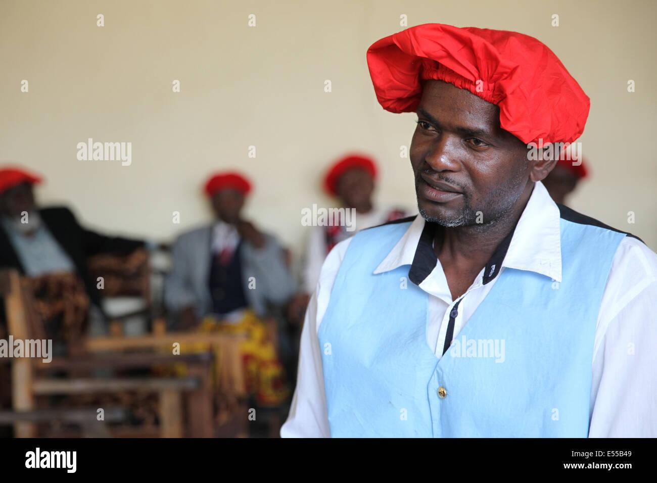 Member of the Kuta, the traditional Lozi parliament in Barotseland, Zambia - Stock Image