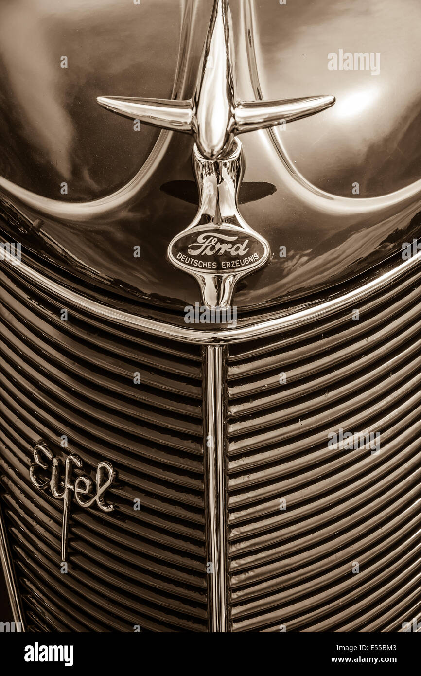 BERLIN, GERMANY - MAY 17, 2014: Detail of the oldtimers Ford Eifel. Sepia. 27th Oldtimer Day Berlin - Brandenburg - Stock Image