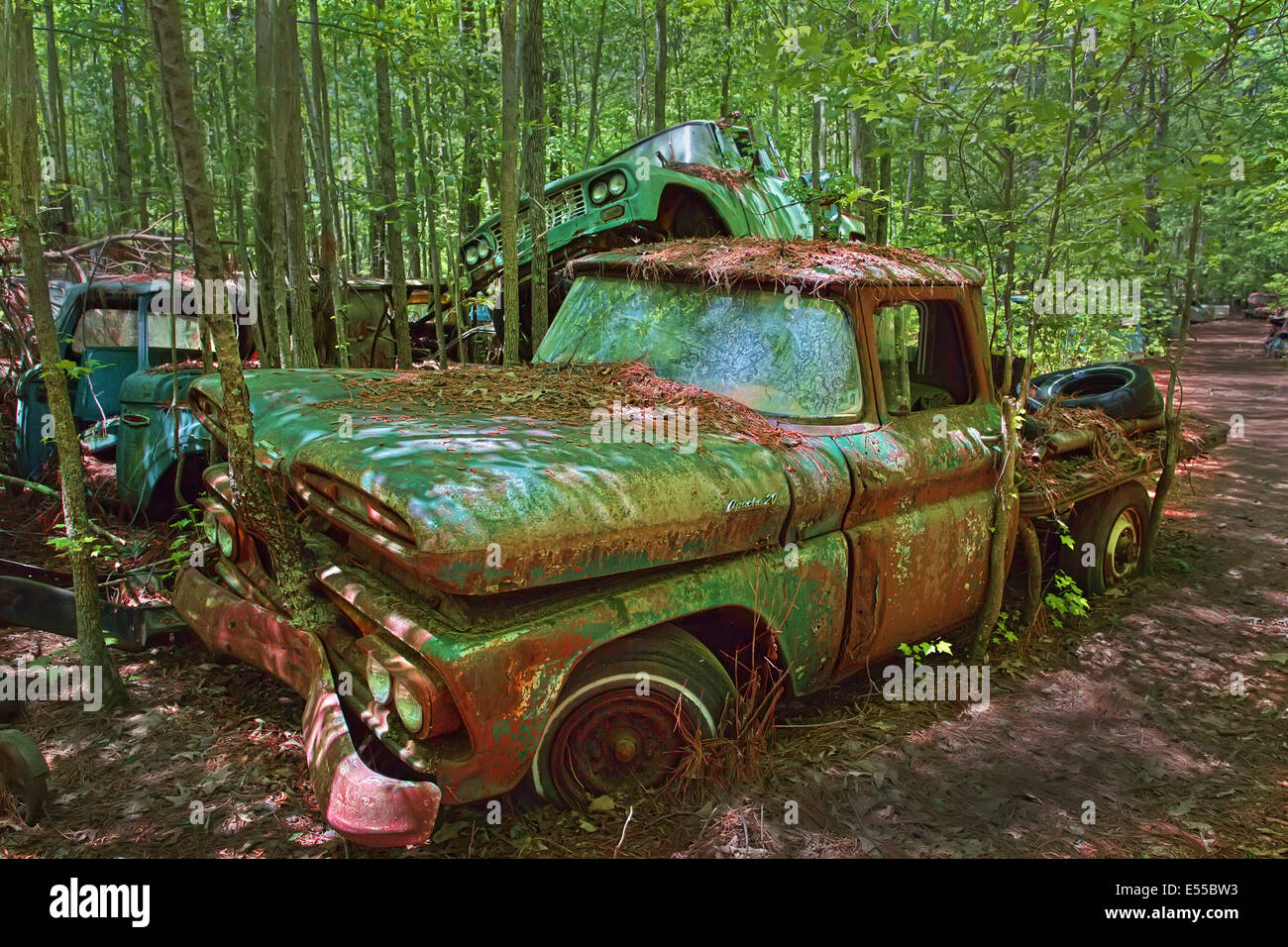 Rusted junk truck in Old Car City in White Georgia - Stock Image