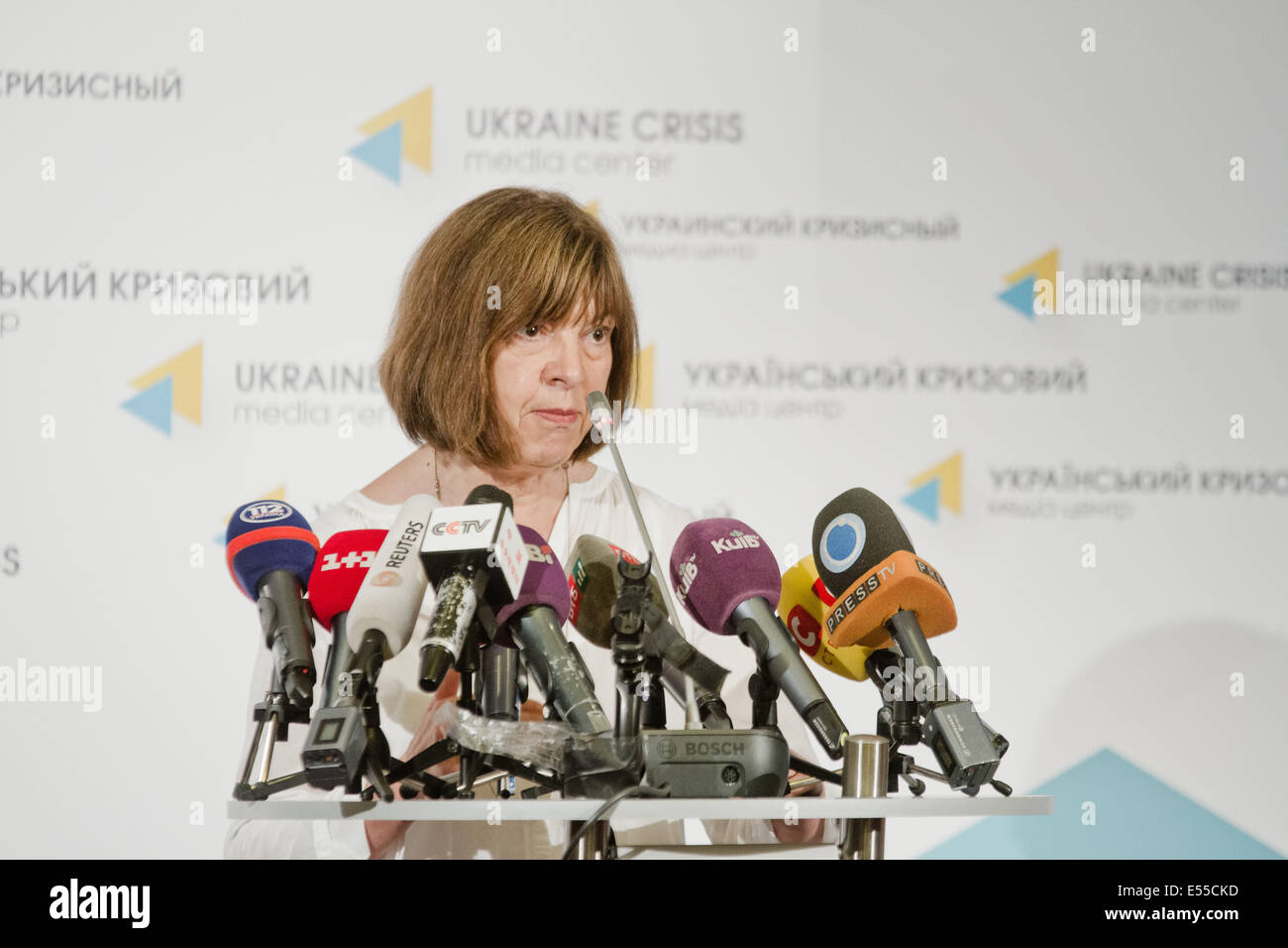 Kiev, Ukraine. 21st July, 2014. MEP Rebecca Harms from Greens group, Germany holds her press-conference in Kiev - Stock Image