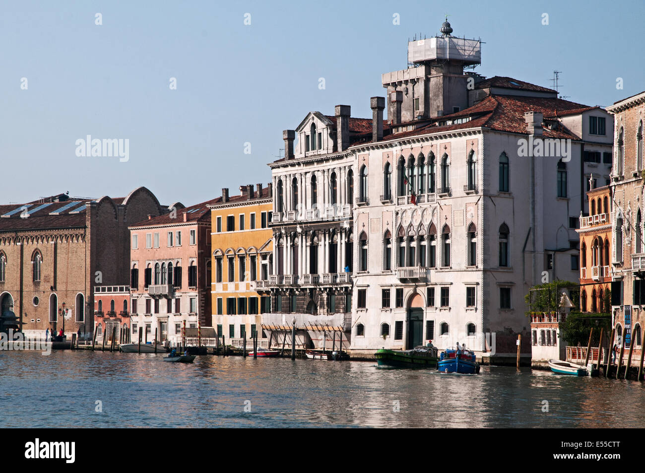 Palaces near Ca Rezzonico on the Grand Canal Venice Italy in early morning sunshine  GRAND CANAL VENICE ITALY CA - Stock Image