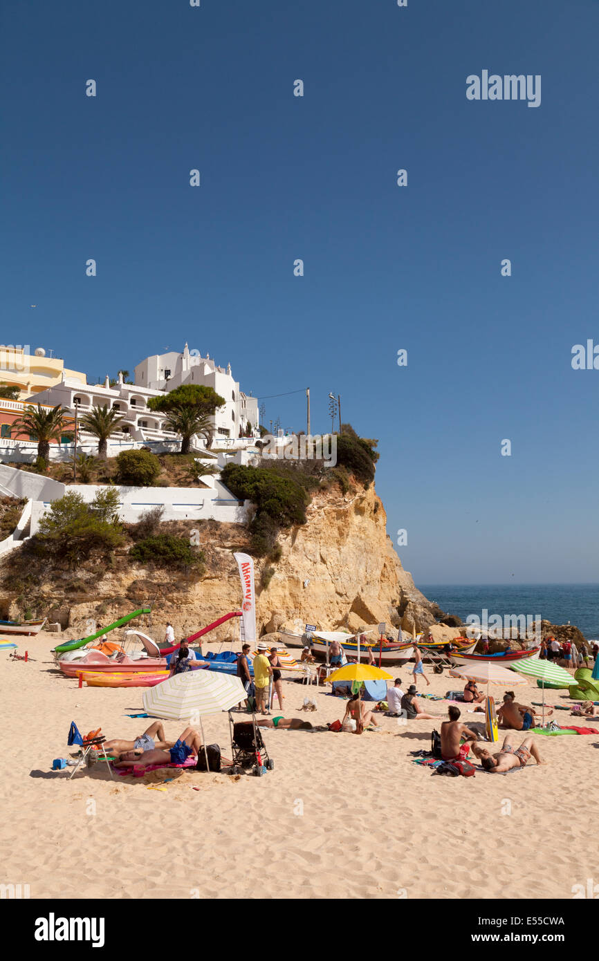 Carvoeiro Beach view,  Algarve, Portugal, Europe in Summer Stock Photo