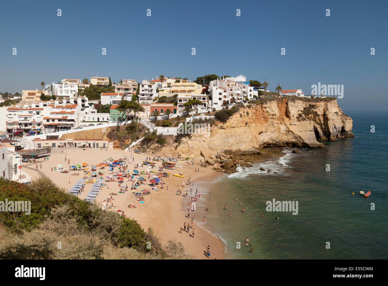 Carvoeiro town and beach in summer, Algarve, Portugal Europe Stock Photo