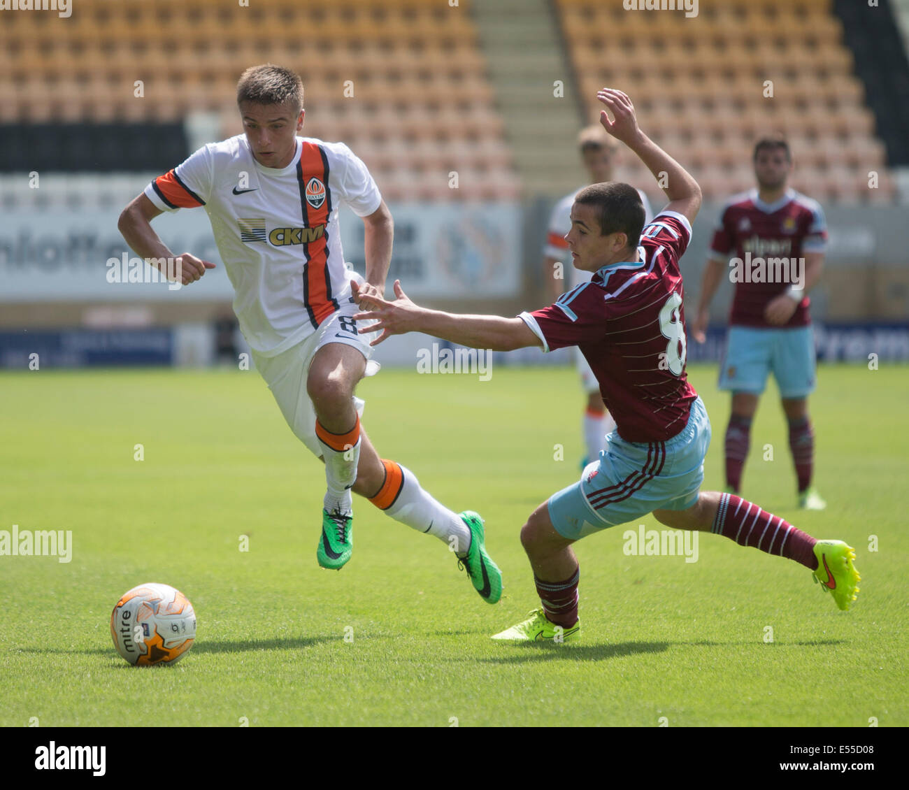 Cambridge, UK. 19th July, 2014. Pre Season Friendly. Shakhtar Donetsk versus West Ham United in the Absolute Sports - Stock Image