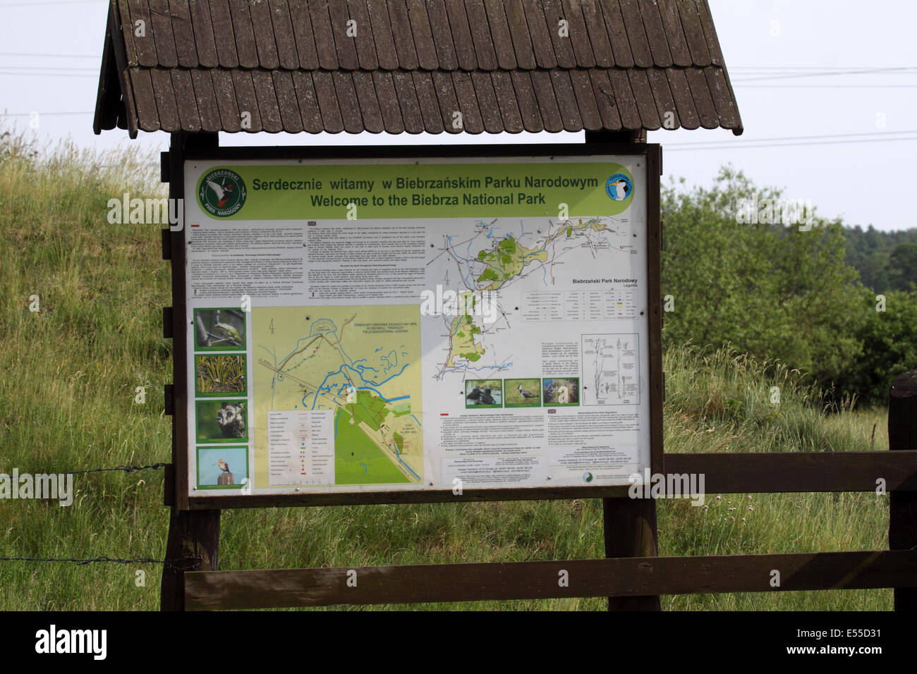 Information board at Biebrza National Park in Poland Stock Photo