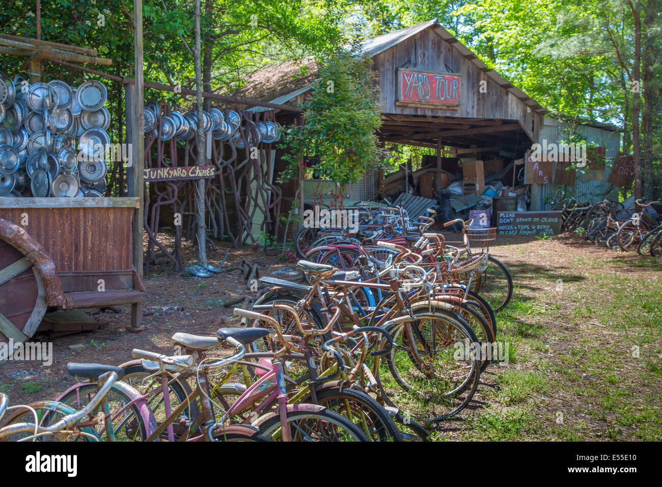 Old rusted  bicycles at Old Car City in White Georgia - Stock Image