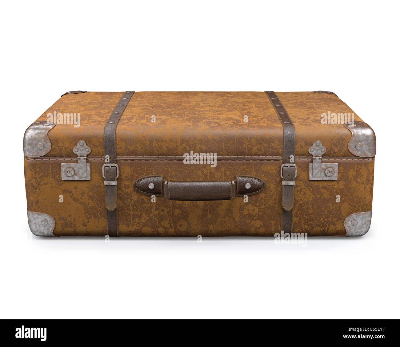 old suitcase with wear on the surface of the leather and rust on