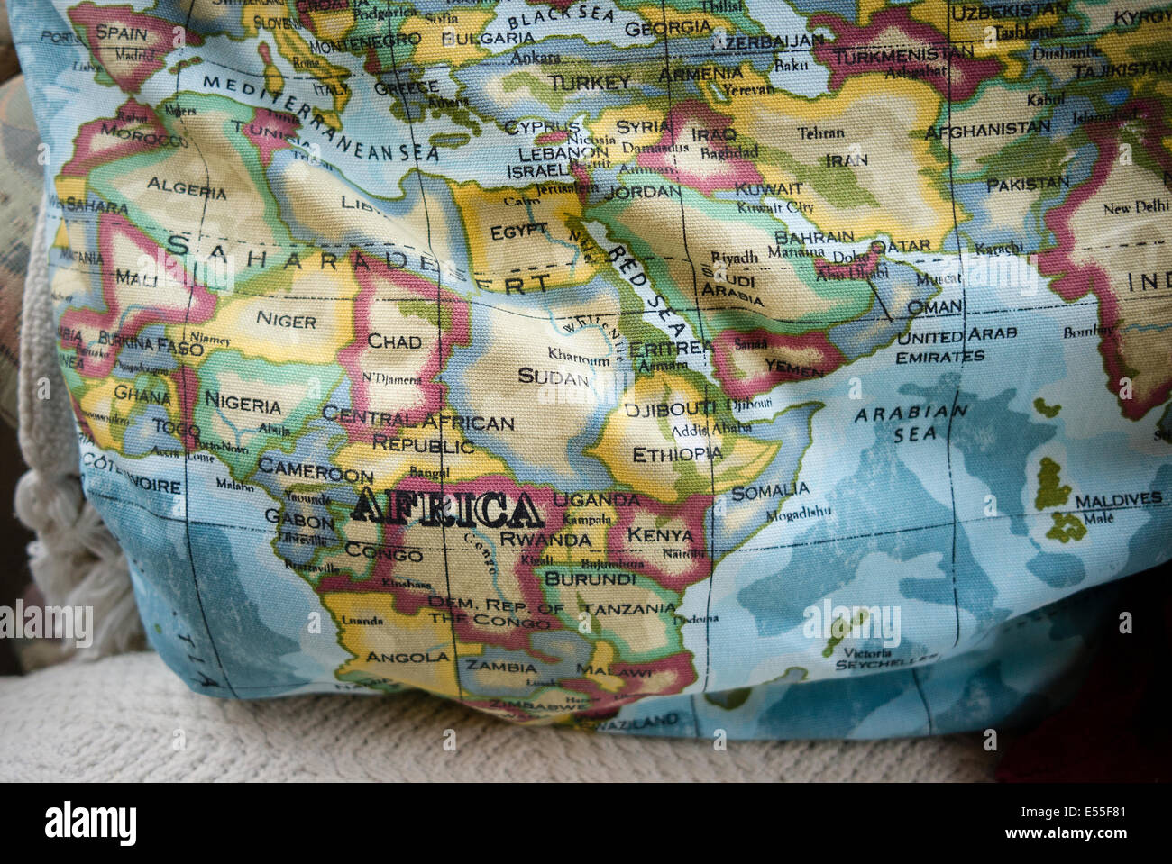 Educational cushion showing map of the world Stock Photo