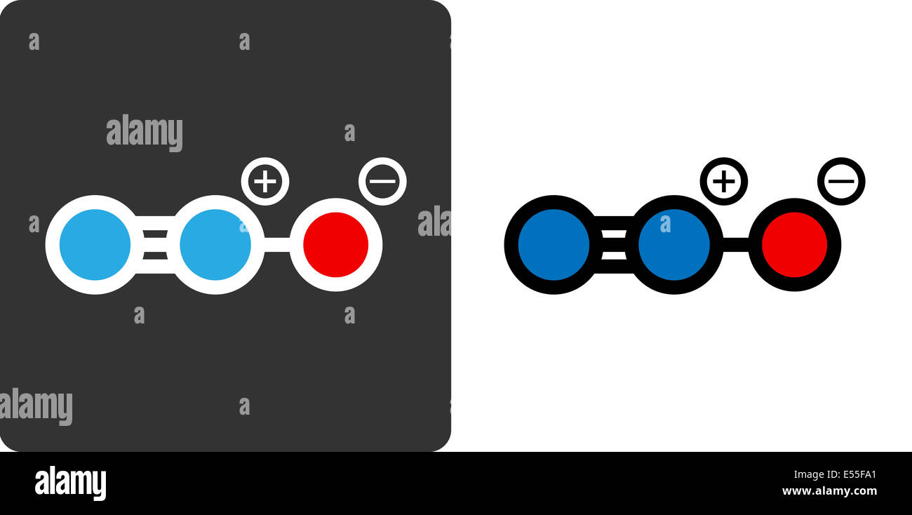 Nitrous oxide (N2O, nitrous, nitro, NOS, laughing gas) molecule, flat icon style. Medically used as anaesthetic - Stock Image