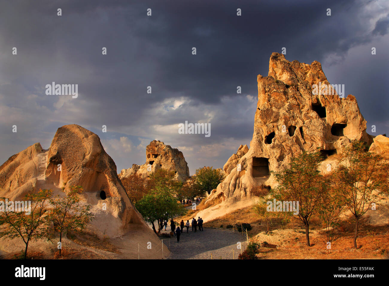 Small part  of Goreme Open Air Museum and National Park with some rock cut monasteries. Nevsehir, Cappadocia, Turkey. - Stock Image