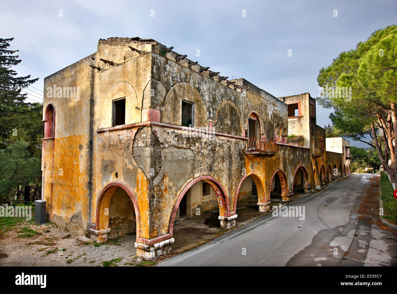 The 'forgotten' village of Eleousa, known as one of the 'Italian' villages of Rhodes island, Dodecanese, - Stock Image