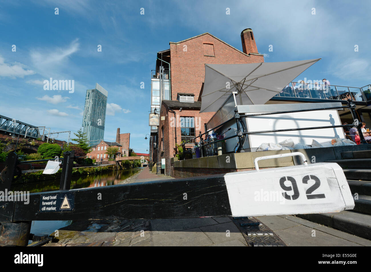 The Castlefield historic inner city canal area including Dukes 92 and lock and Beetham Tower (background) in Manchester - Stock Image