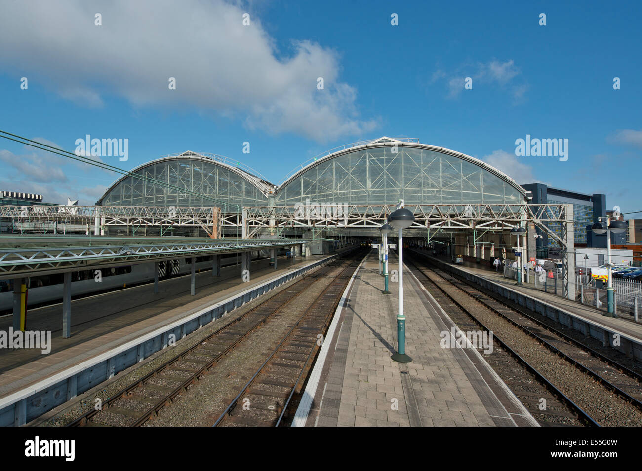 An empty Manchester Piccadilly Rail Station without any trains in service - Stock Image