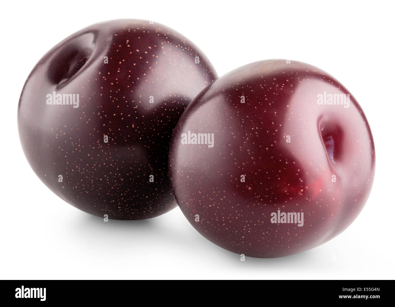 Ripe plum fruit isolated on white background. Clipping Path - Stock Image