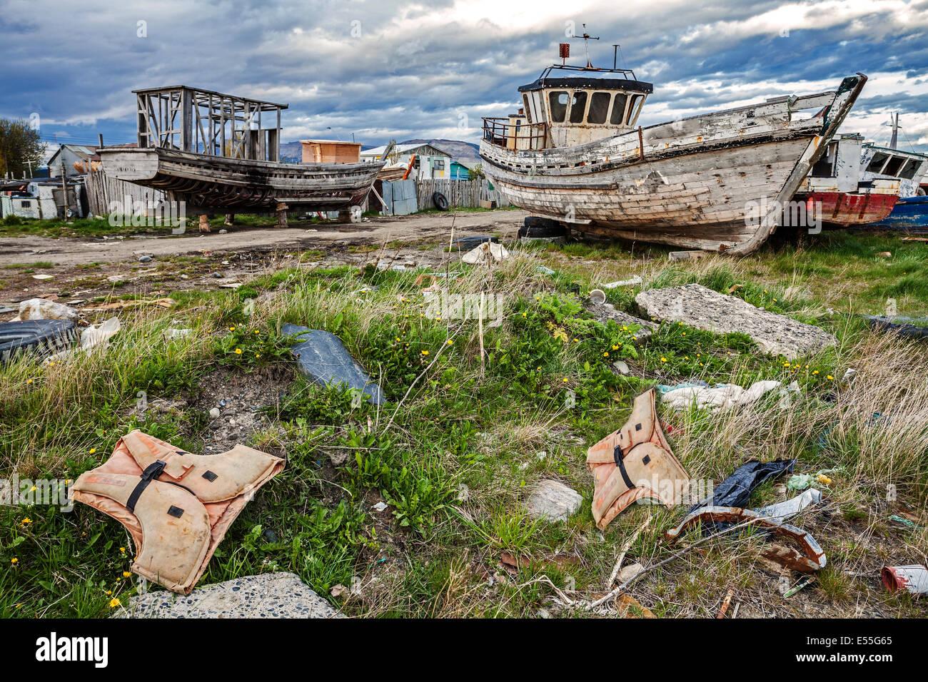 Old Boat Scrap Yard - Stock Image