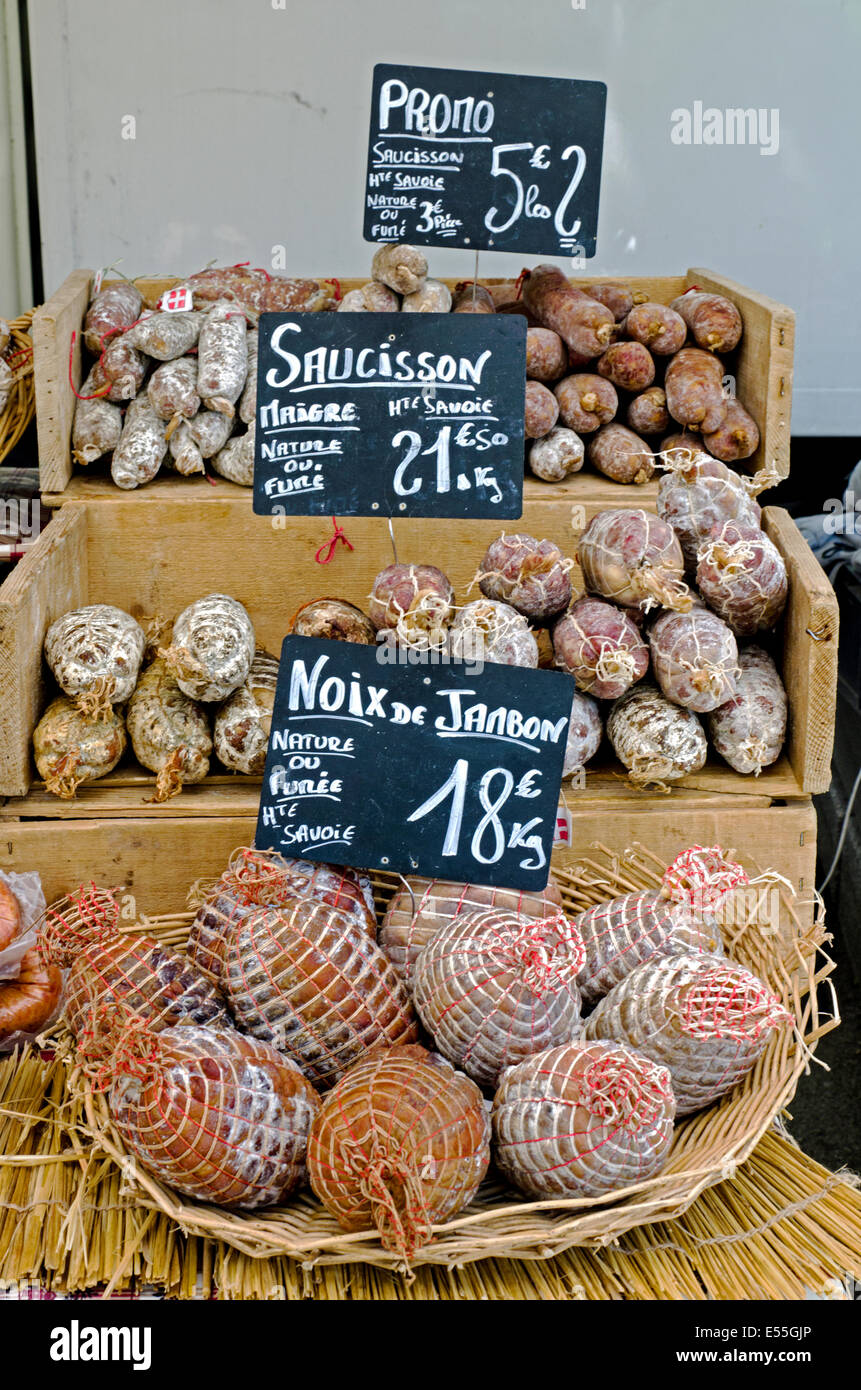 A selection of traditional French sausage on a stall at the Saturday market in Chamonix, Haute Savoie, France. Stock Photo
