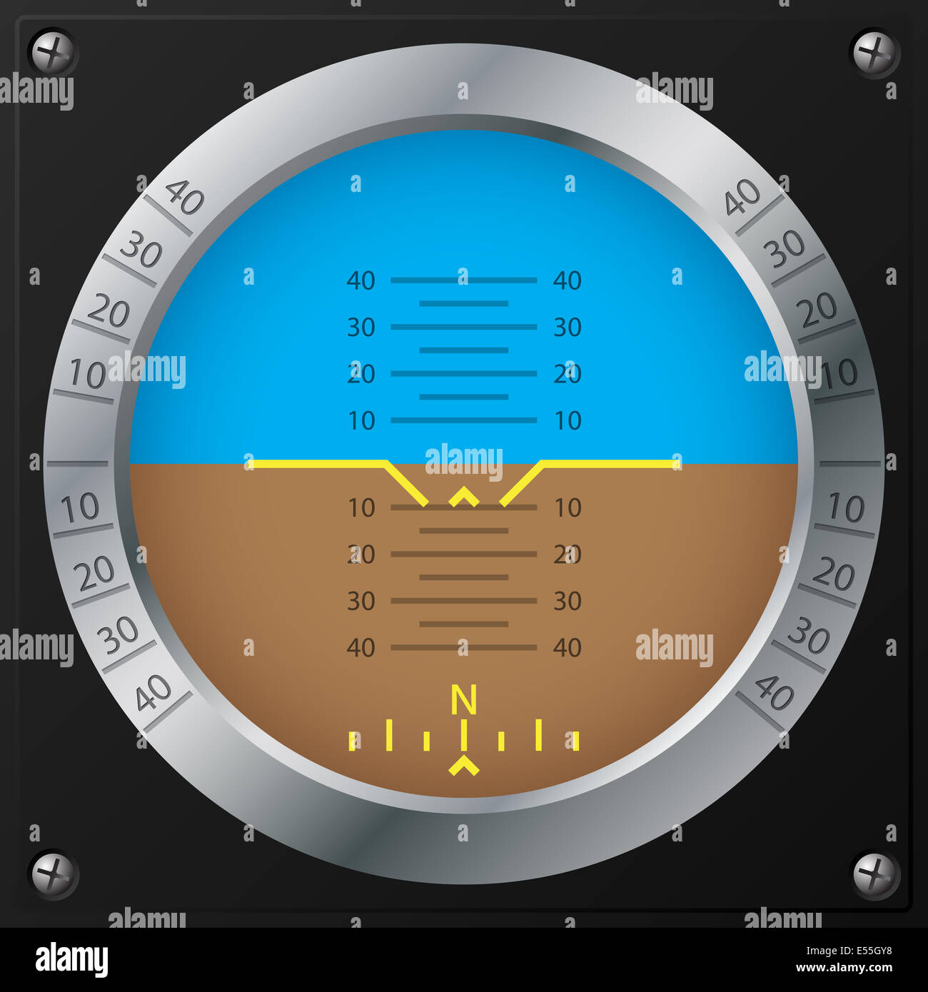 Attitude indicator design on screwed black plate for airplanes - Stock Image