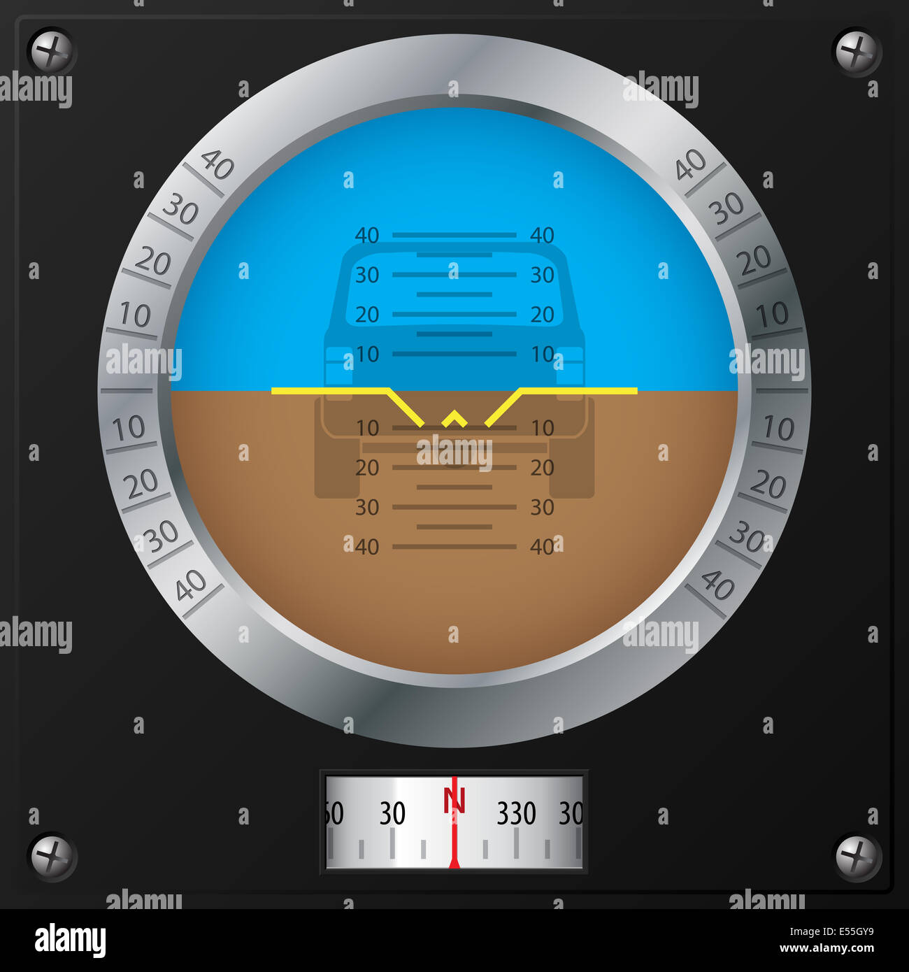 Attitude indicator design on screwed black plate for jeeps - Stock Image