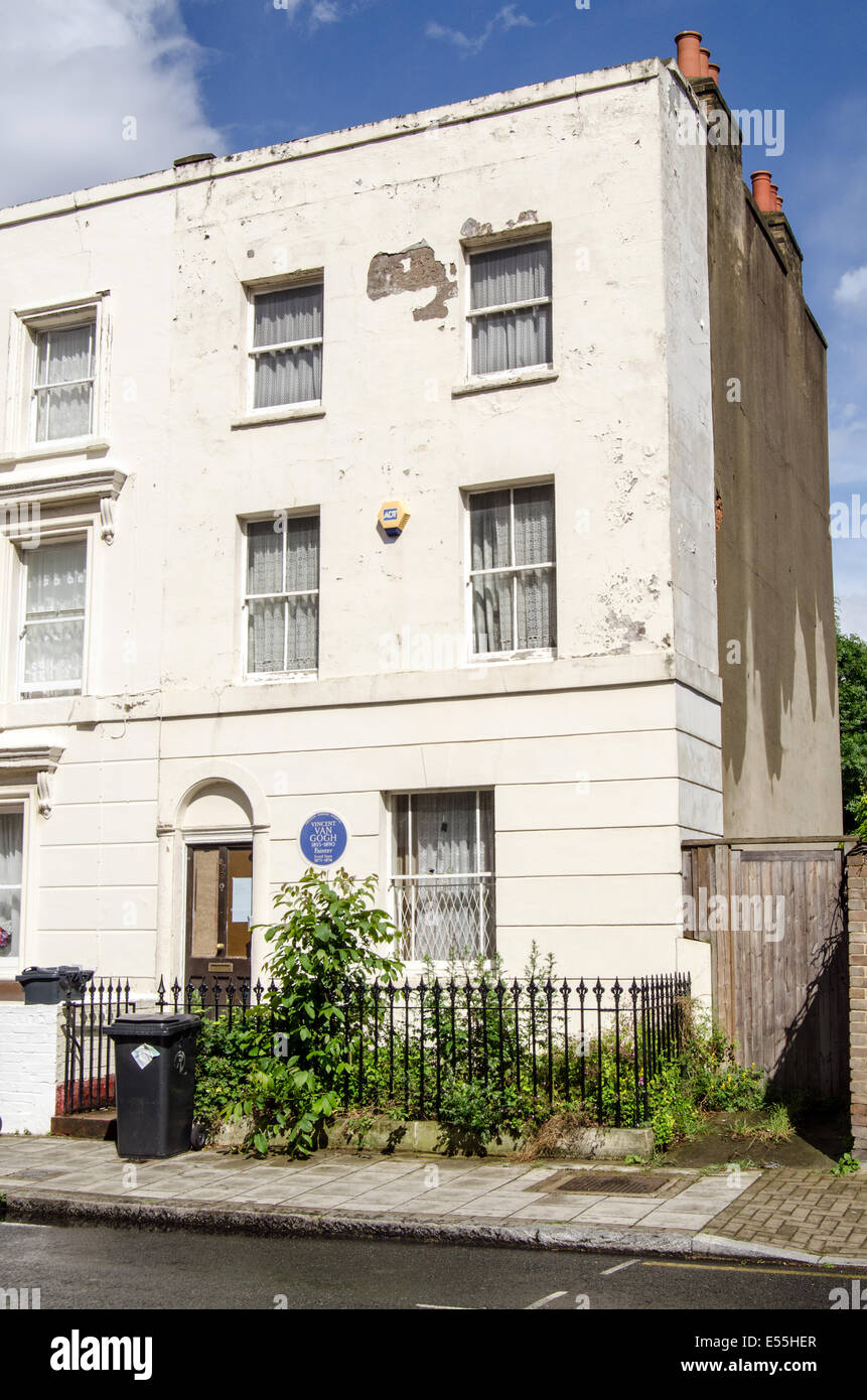 LONDON, UK  MAY 24, 2014: Historic home of the artist Vincent Van Gogh in Brixton, South London. - Stock Image