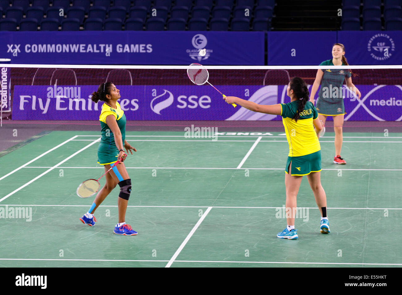 Glasgow, Scotland, UK. 21st July, 2014. Team Australia training at the Emirates Arena the venue for the Glasgow - Stock Image