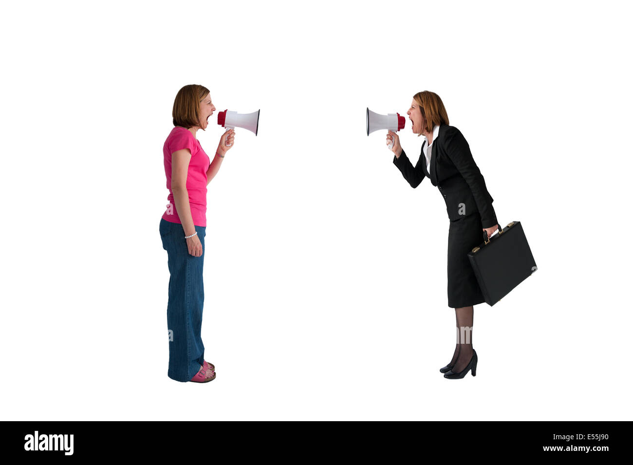 angry shouting women - businesswoman and woman - shouting with megaphones isolated on white background - Stock Image