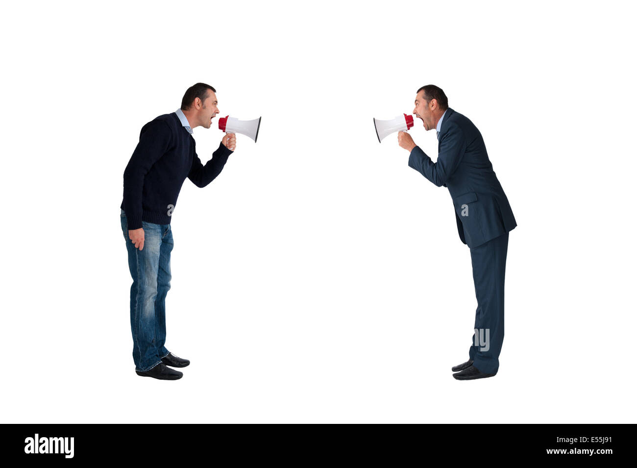 business concept men shouting with megaphones isolated on white background - Stock Image