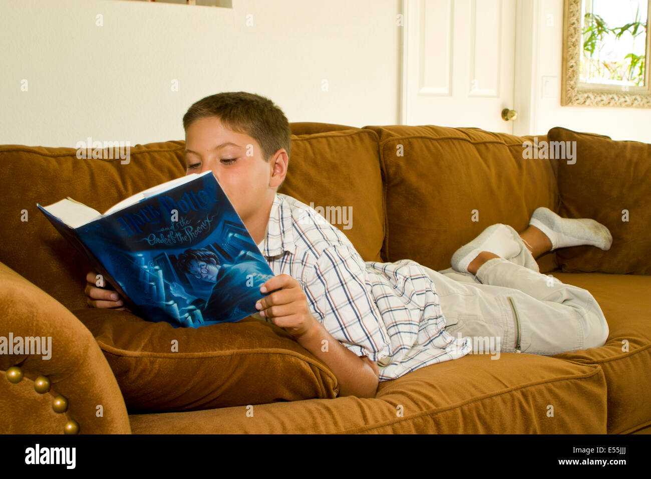 Young Japanese/Caucasian boy reading Book MR © Myrleen Pearson - Stock Image