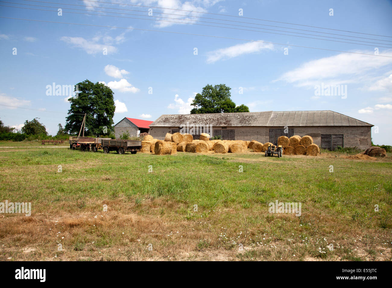 Round bails of harvested hay in front of farmer's storage buildings. Zawady Poland - Stock Image