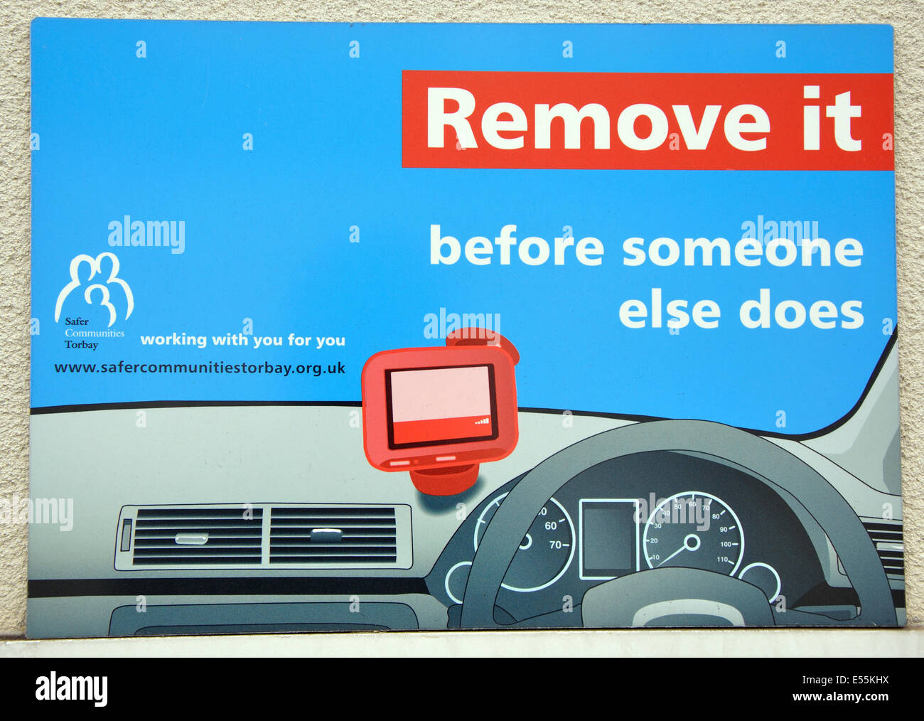 remove Satnav notice, Torquay, Torbay, Devon, England, UK - Stock Image