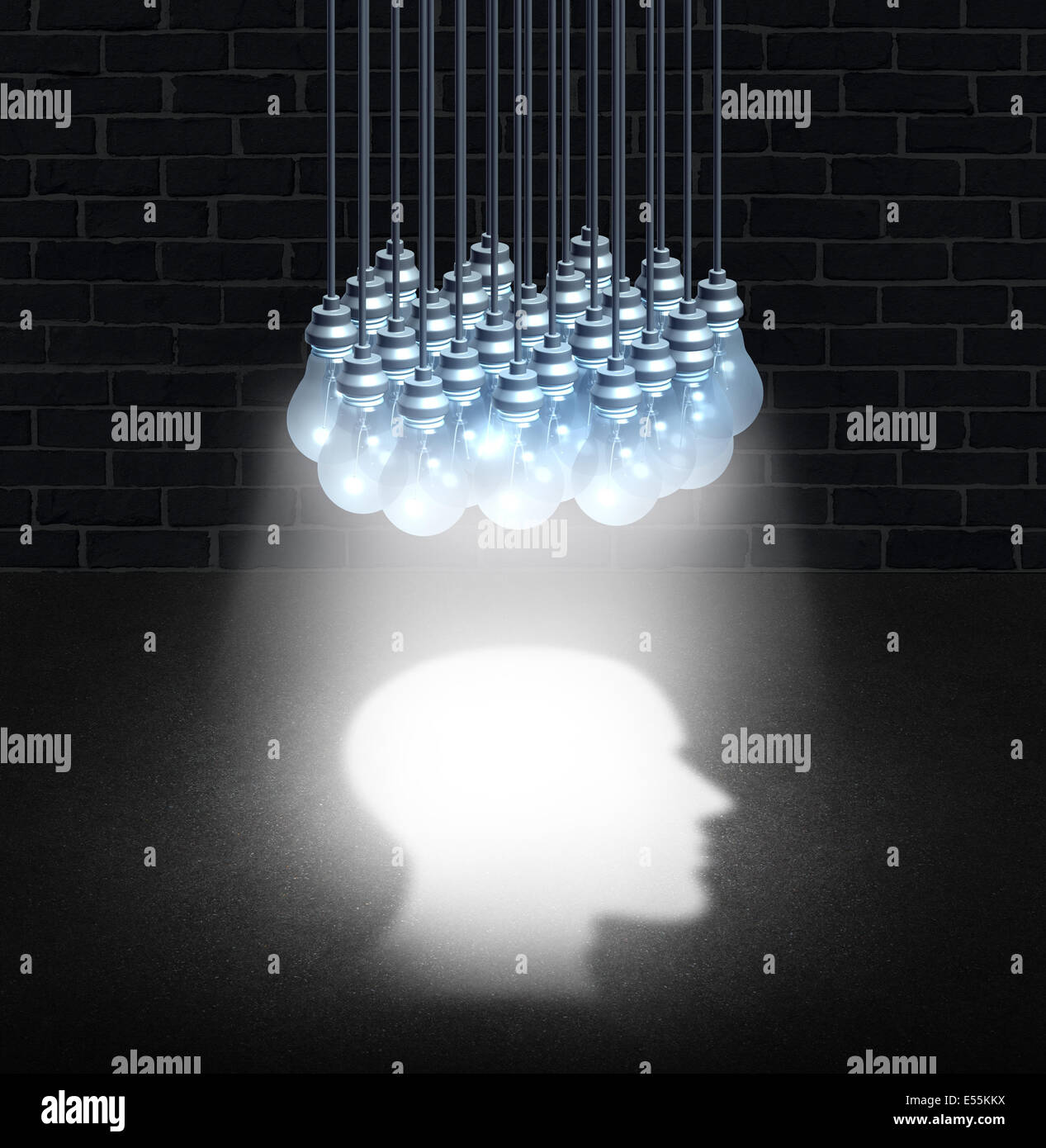 Thinking group and team work creativity concept as a bunch of lightbulbs working together shinning down light shaped - Stock Image