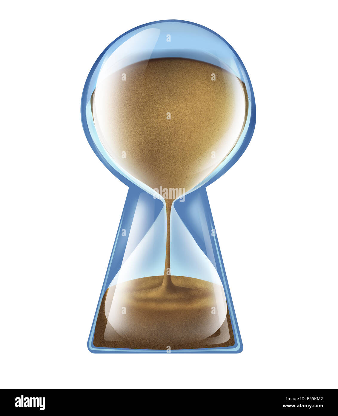 Longevity key health concept as an hourglass shaped as a keyhole as a symbol of living longer and new medical technology - Stock Image
