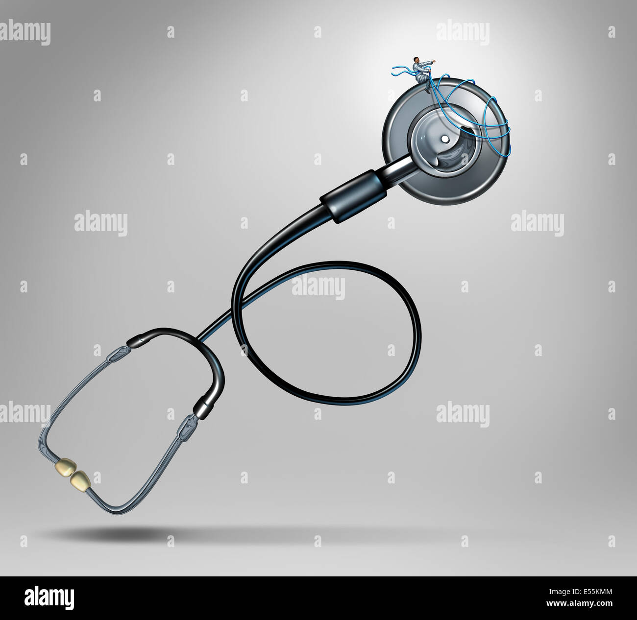 Medical guidance and patient care concept as a doctor piloting a giant stethoscope with a harness as a metaphor - Stock Image