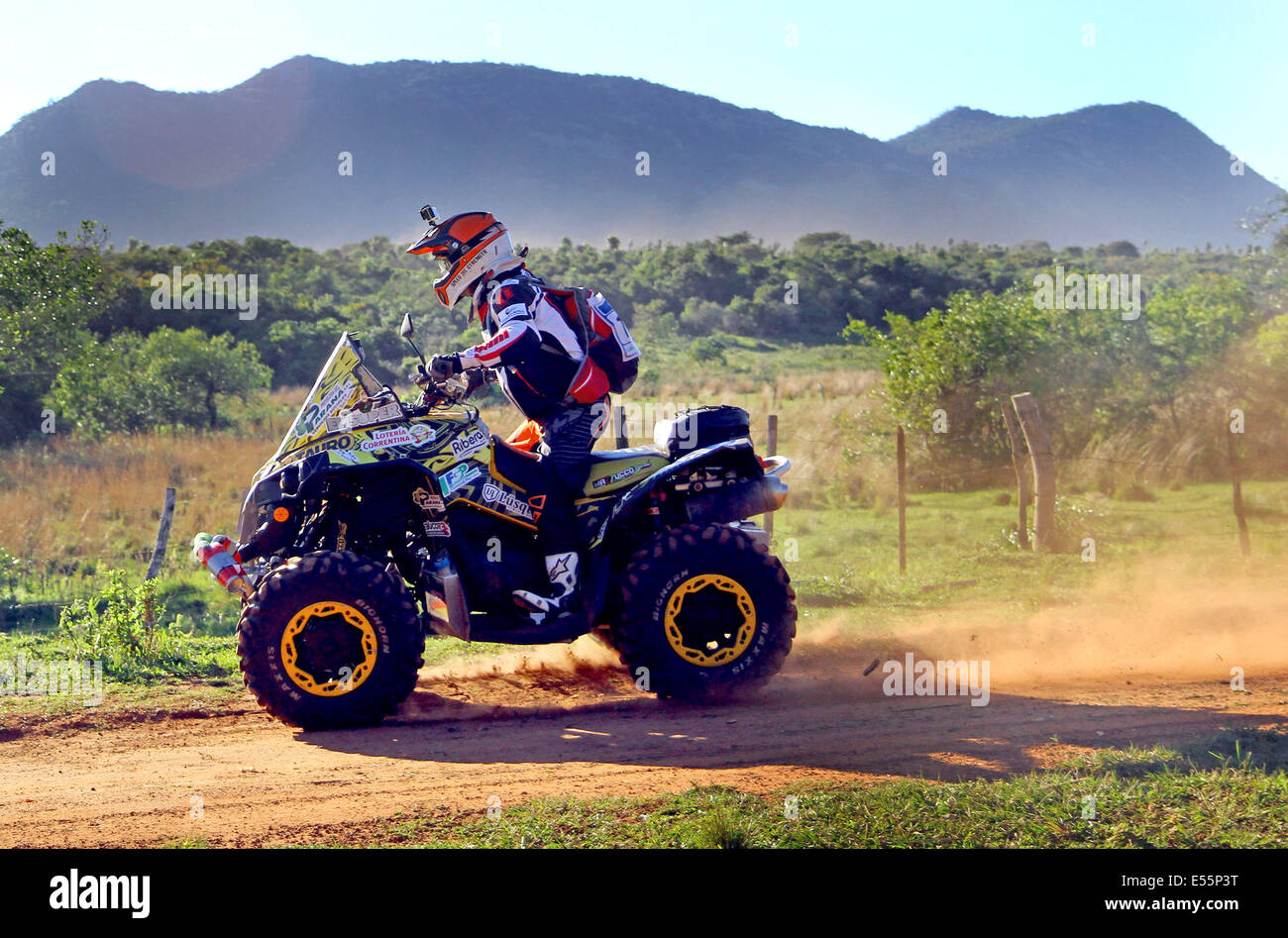 Paraguari, Paraguay. 21st July, 2014. A pilot takes part in the fist leg of the Guarani Challenge of the Dakar Series, - Stock Image