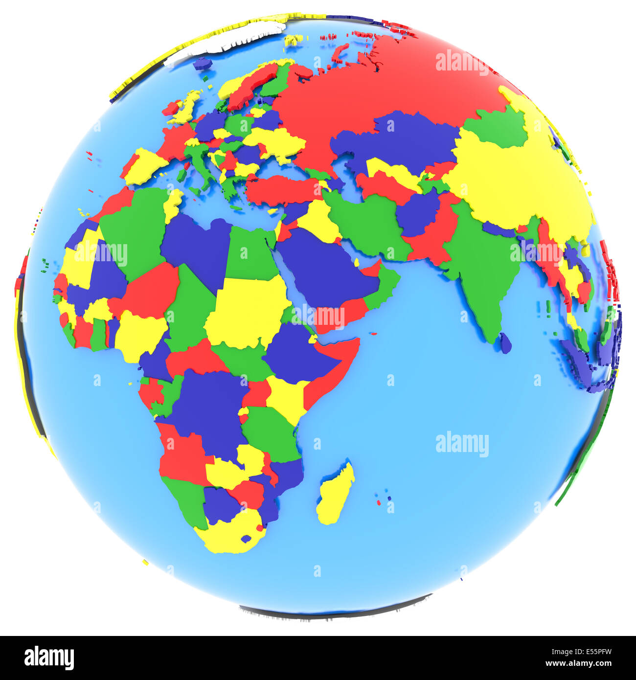 Political map of Eastern Hemisphere with countries in four colours ...