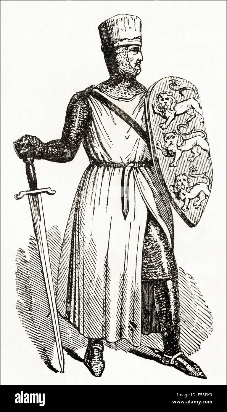 John, King of England in the 13th century. Victorian woodcut engraving circa 1845. - Stock Image