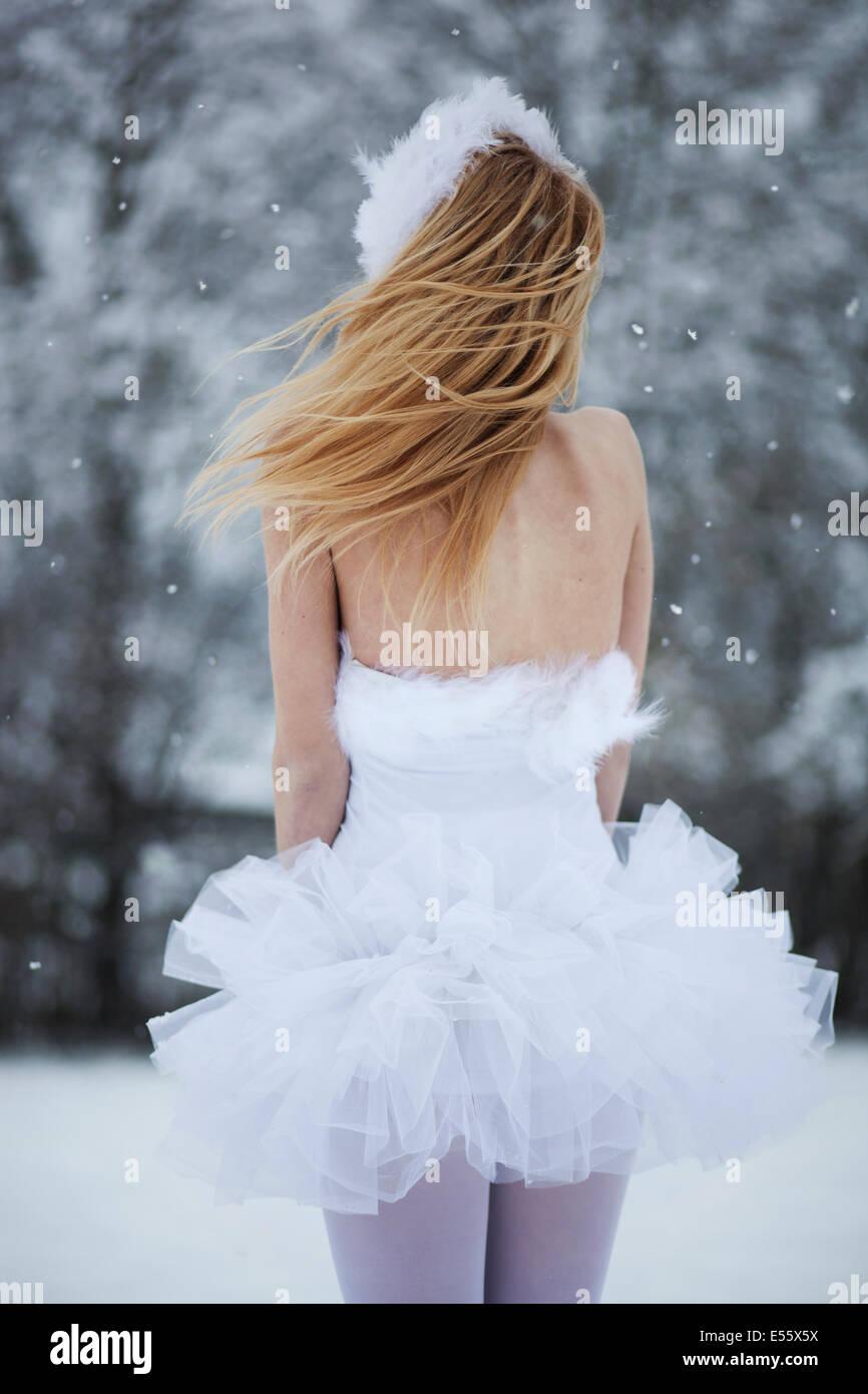 Ballerina freezing in the snow - Stock Image