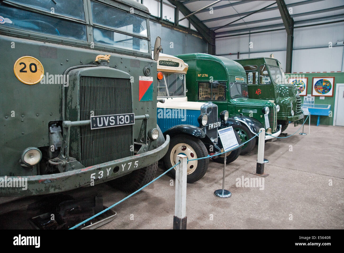 World War II - vintage  vehicles on display at the Lincolnshire Aviation Heritage Centre at East Kirkby - Stock Image