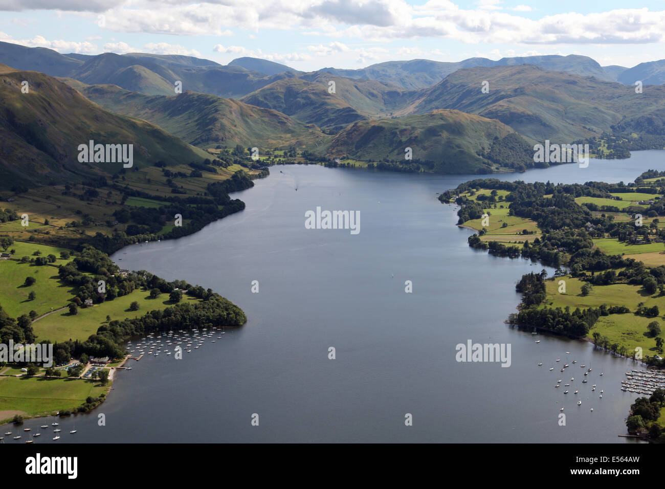 aerial view of Lake Ullswater in the Lake District, UK - Stock Image