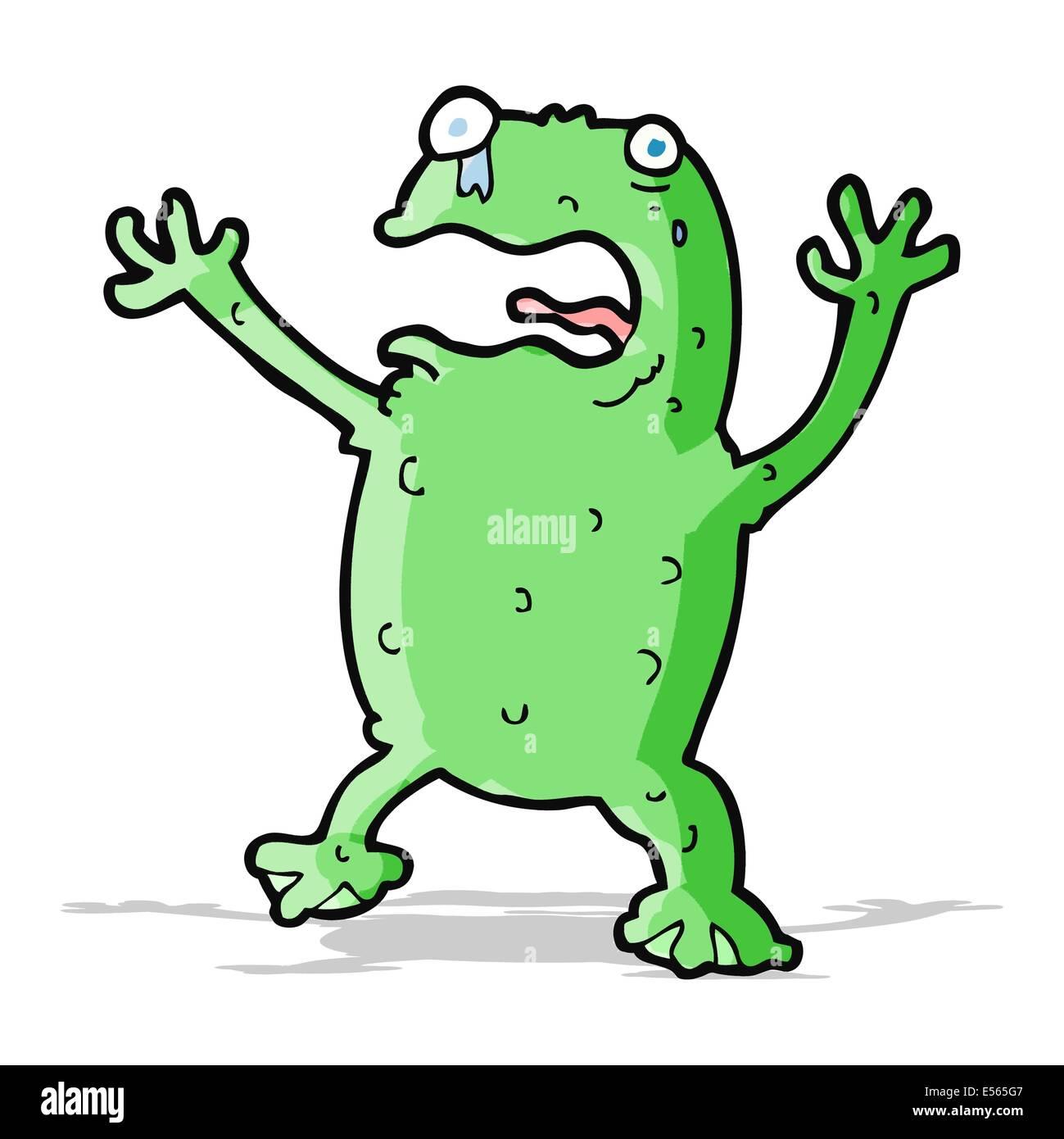 cartoon frightened frog Stock Vector