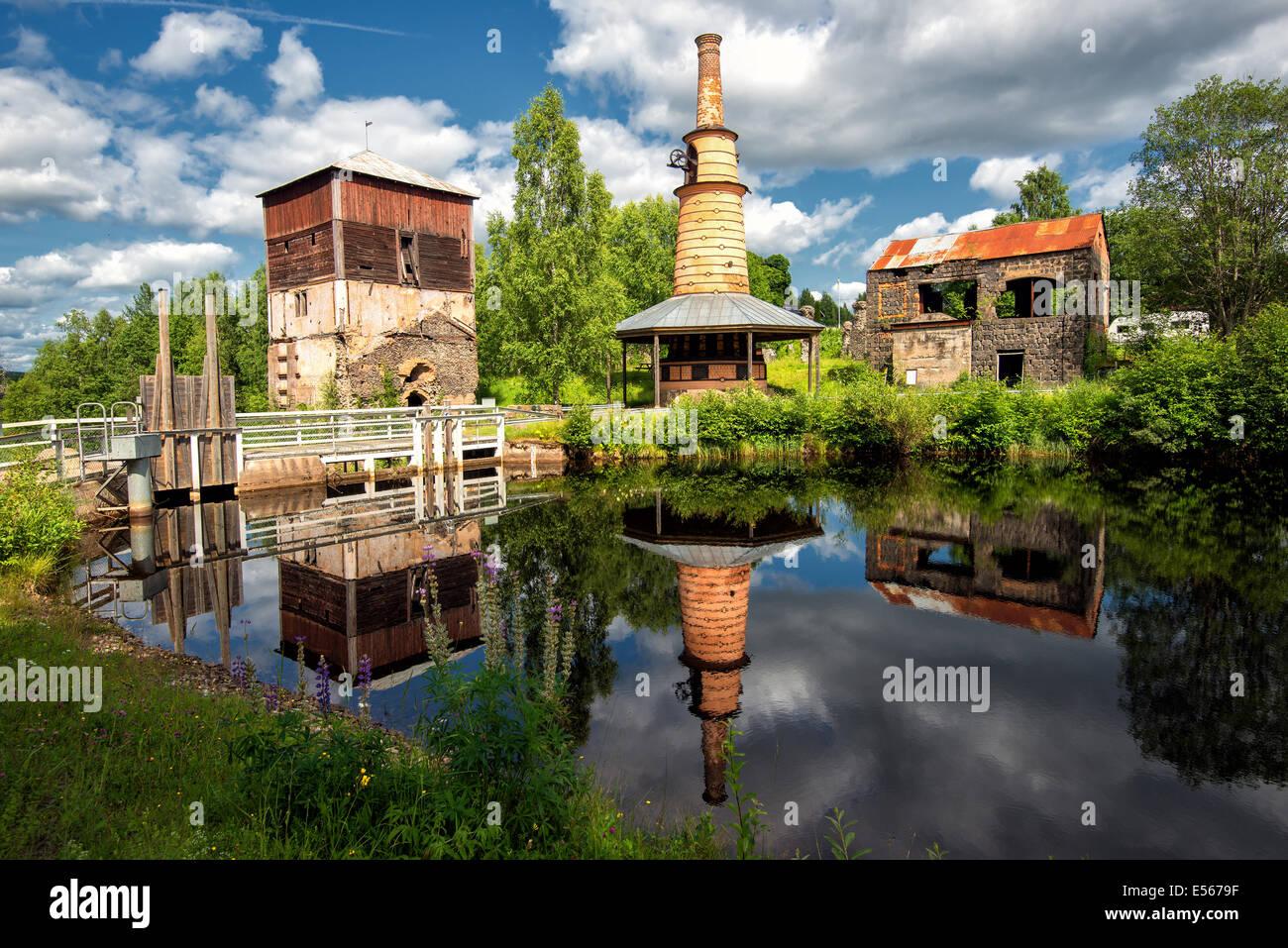 Abandoned historic ironworks in Ulvshyttan, Sweden - Stock Image