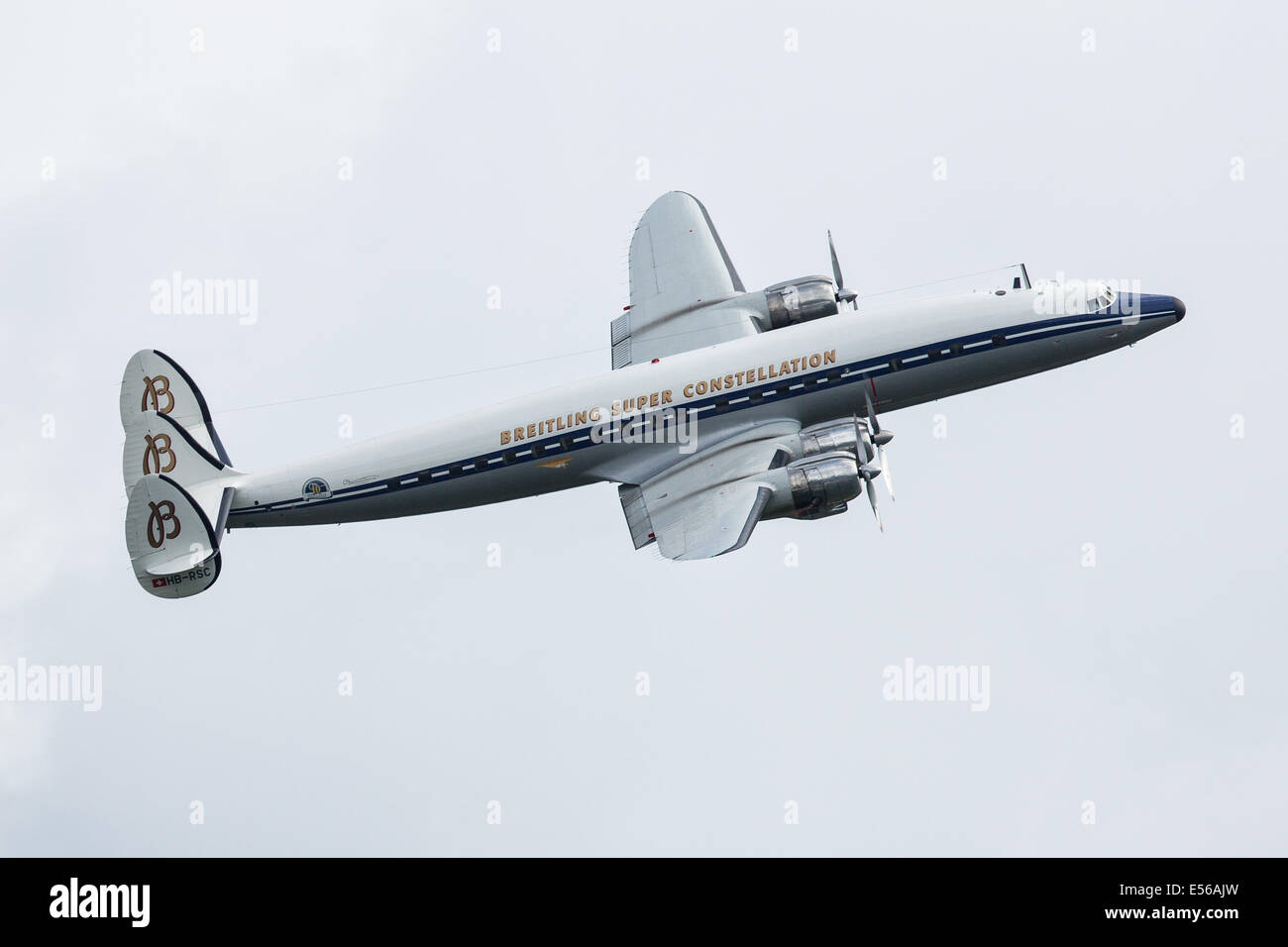 Breitling Lockheed L-1049 Super Constellation Jetliner aircraft flying at  Farnborough Airshow 2014