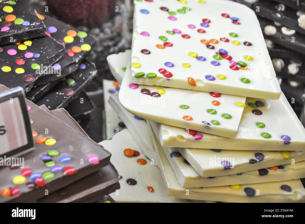 Smarties with chocolate in a candy store. Photographed in Prague Czech Republic Stock Photo