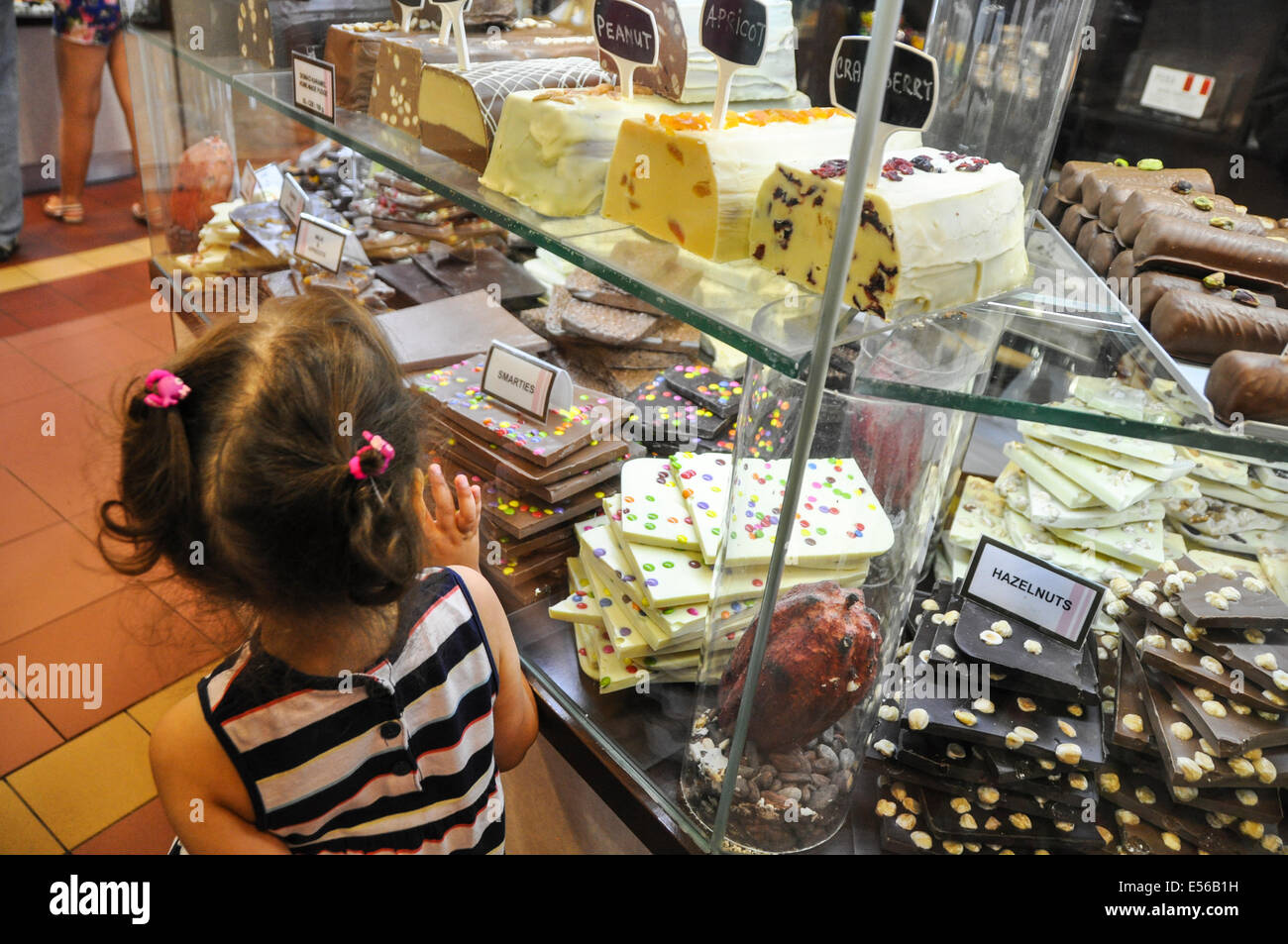 Young girl in a candy store. Photographed in Prague Czech Republic Stock Photo